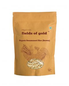 Pristine Organics Fields of Gold Organic Sonamasoori Rice (Brown)-1kg