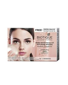 Biotique Bio Pearl White Facial Kit With Pearl Bhasma-5x10g+15g