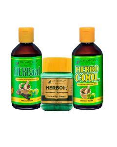 Dr. Vaidya's -Anti-Hair Fall Pack Herbocool-200ml Herbaal- 200ml and Herbofit -30 Capsules