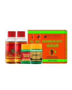 Dr. Vaidya's - Arthritis Pack Herbofit- 30 Capsules, Nirgundi- 200ml, Sandhivati- 72 Pills and Rumox- 50gm