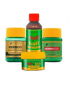 Dr. Vaidya's - Cough & Cold Pack Herbofit - 30 Capsules, Huff N Kuff Lozenges- 50 Pills, Huff N Kuff Syrup-200ml and Herbokold-100gm