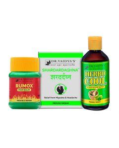 Dr. Vaidya's Headache Pack Shardardaghna 72 Pills, Herbocool-200ml and Rumox-50gm