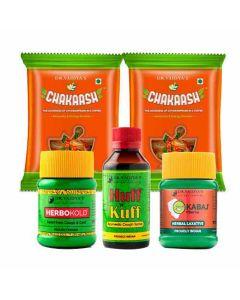 Dr. Vaidya's Kids Ayurvedic Pack Chakaash-50 toffeesX2, Herbokold- 50gm X1 , Kabaj Churna-50gmX1, Huff n Kuff-100mlX1