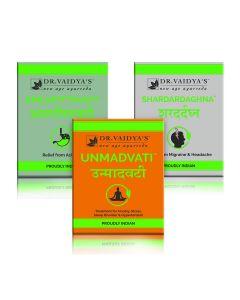 Dr. Vaidya's - Migraine Pack Unmadvati-72 Pills, Shardardaghna-72 Pills and Amlapittavati-72 Pills