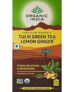 Organic India Tulsi Green Tea Lemon Ginger-25 Tea Bags