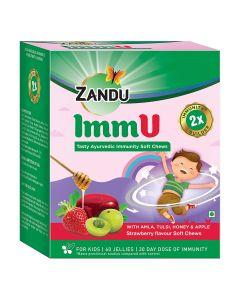 Zandu Immu Tasty Ayurvedic Immunity Soft Chews, Strawberry Flavour - 60 Soft Chews